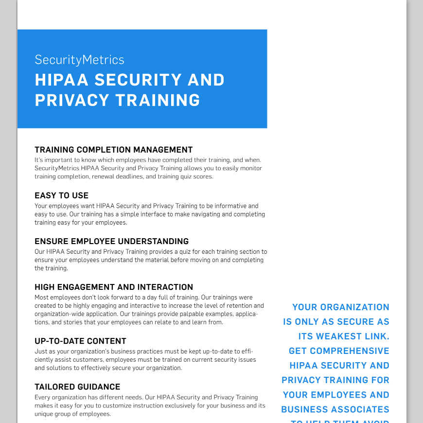 HIPAA Security and Privacy Training Data Sheet, hipaa training, hippa training, hipaa compliance training