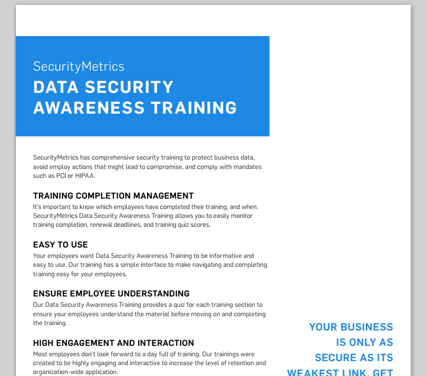PCI Security Training Data Sheet, Cyber Security training, security awareness training
